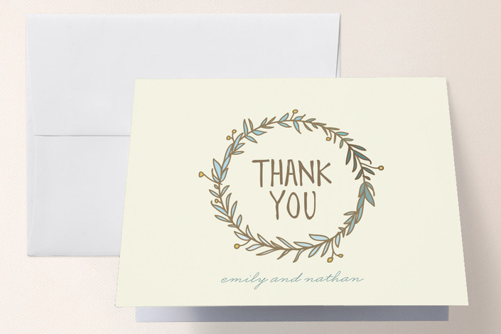 """Wreath of Thanks"" - Whimsical & Funny, Rustic Thank You Cards in Robin by Lisa Nelson."