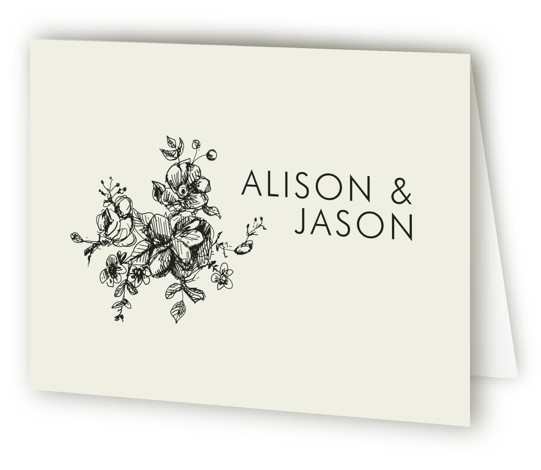 This is a landscape botanical, classical, elegant, floral, formal, hand drawn, rustic, simple, whimsical, brown Wedding Thank You Cards by Phrosne Ras called Elegance Illustrated with Standard printing on Standard Cover in Card fold over (blank inside) format.