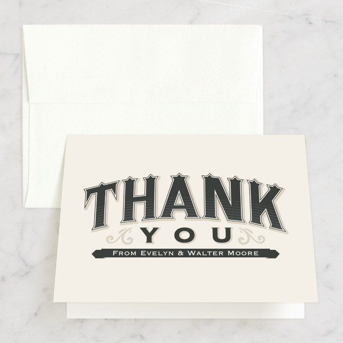 """A Blessed Union"" - Bold typographic, Vintage Thank You Cards in Cream by GeekInk Design."