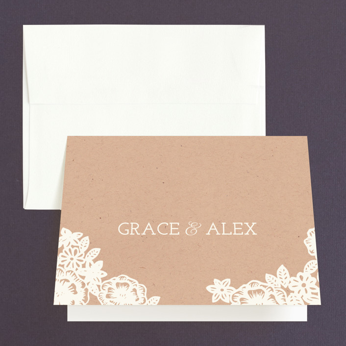 """""""Lace and Kraft"""" - Hand Drawn, Floral & Botanical Thank You Cards in Kraft by Katharine Watson."""
