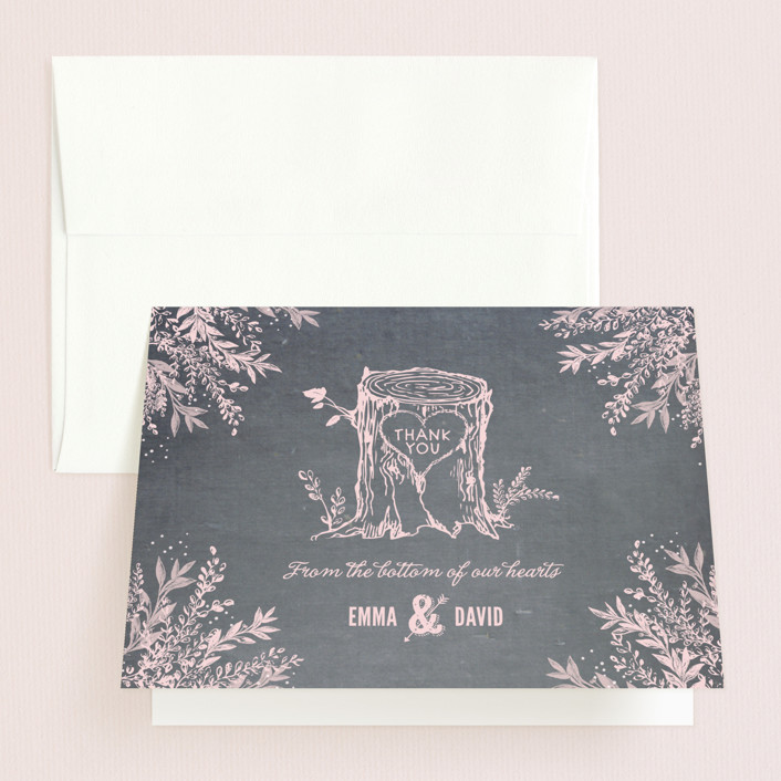 """Woodland Romance"" - Whimsical & Funny, Rustic Thank You Cards in Blush by cadence paige design."