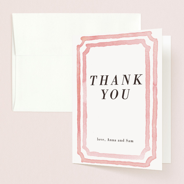 """Watercolor Frame"" - Modern Thank You Cards in Coral by Laura Condouris."