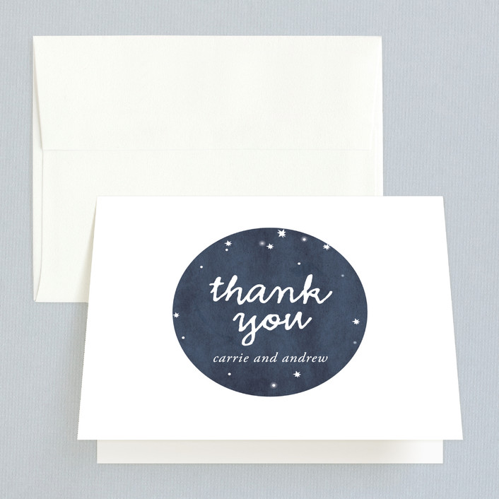 """Constellations"" - Rustic, Modern Thank You Cards in Deep blue by SimpleTe Design."