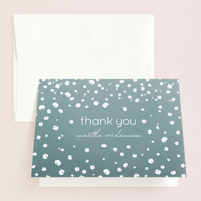 """""""Floral Rain"""" - Whimsical & Funny Thank You Cards in Teal by Aspacia Kusulas."""