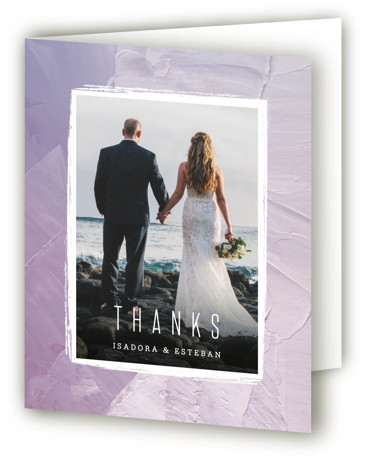 This is a modern, painterly, purple Wedding Thank You Cards by Hooray Creative called Painted Sea with Standard printing on Standard Cover in Card fold over (blank inside) format. Handpainted abstract with minimal type perfect for a seaside wedding.