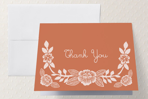 Block Printed Floral Thank You Cards