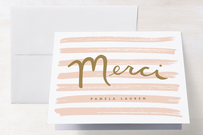 """""""French Stripes"""" - Classical, Preppy Folded Thank You Card in Peach by Monica Tuazon."""