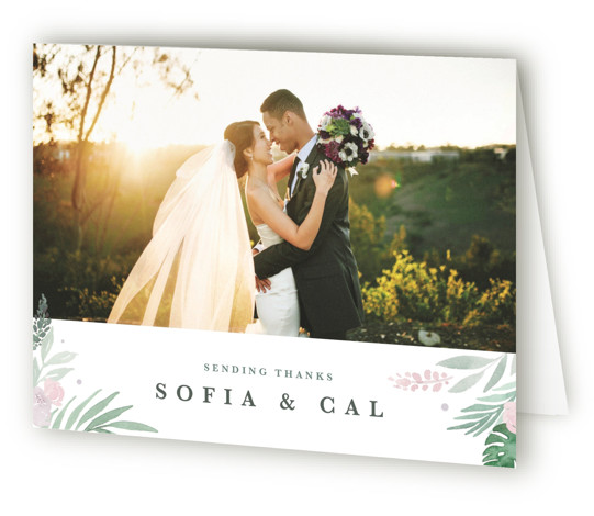 This is a landscape classic and formal, green Wedding Thank You Cards by Kristen Smith called Botanical Seal with Standard printing on Standard Cover in Card fold over (blank inside) format. Hand painted floral crest with lush greens and blooms ...