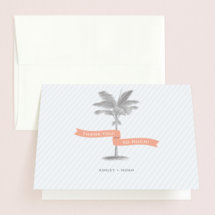 """Palm"" - Thank You Cards in Salmon by Lauren Chism."