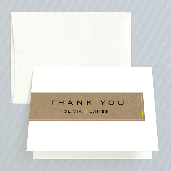 """""""Vintage Kraft"""" - Modern Thank You Cards in Chartreuse by Waldo Press."""