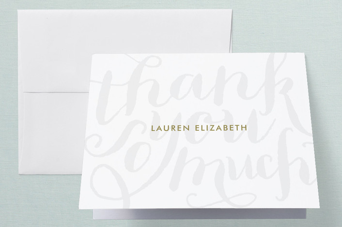 """Chic Grafitti"" - Preppy, Whimsical & Funny Thank You Cards in Gold by Lauren Chism."