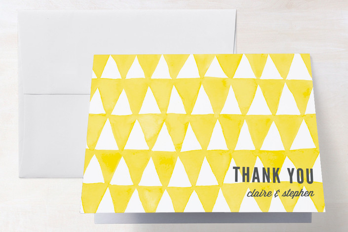 """Triangular"" - Modern Thank You Cards in Lemon by Paper Dahlia."