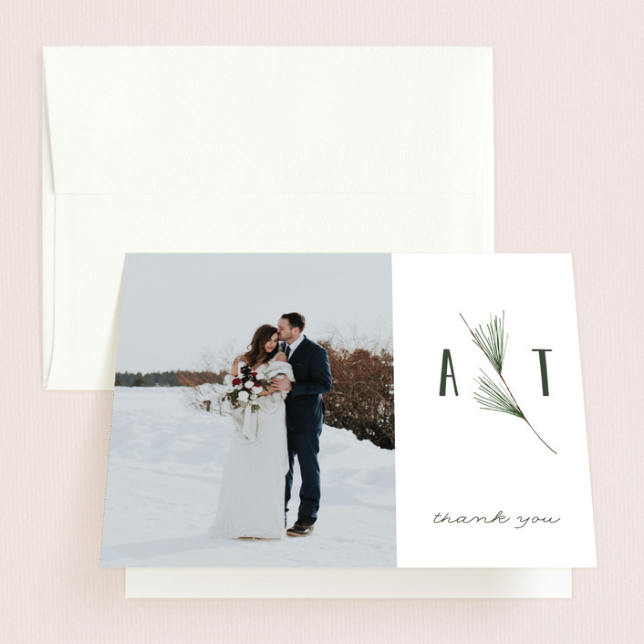 """""""Rustic Wedding"""" - Rustic Folded Thank You Card in Pine by Susan Brown."""