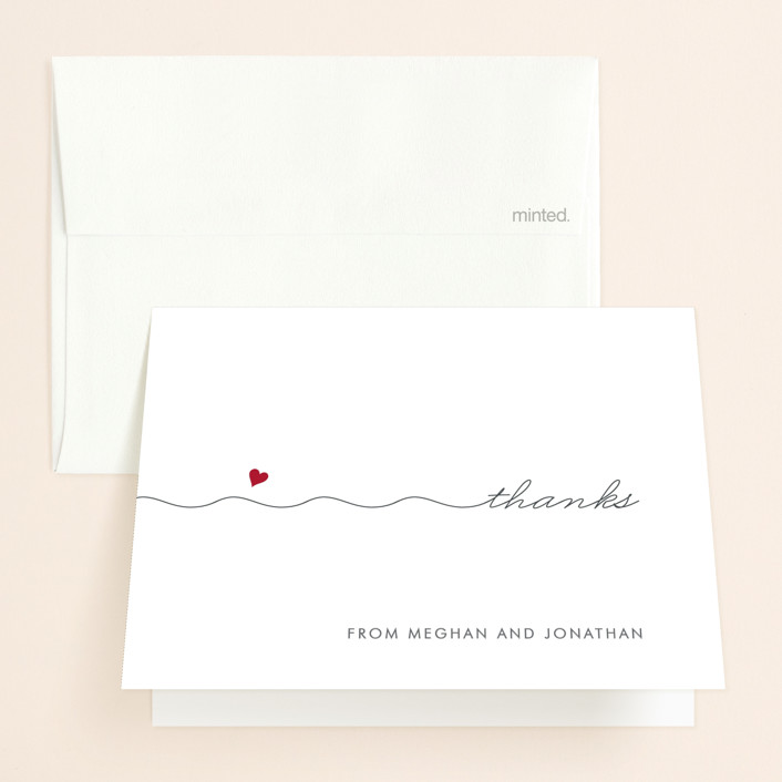 """Love Connection"" - Whimsical & Funny Thank You Cards in Red Hot by Kim Dietrich Elam."