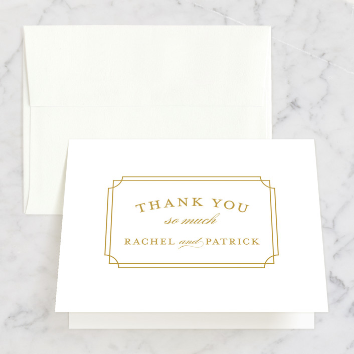 """Luxe Border"" - Formal, Classical Folded Thank You Card in Gold by Sarah Brown."