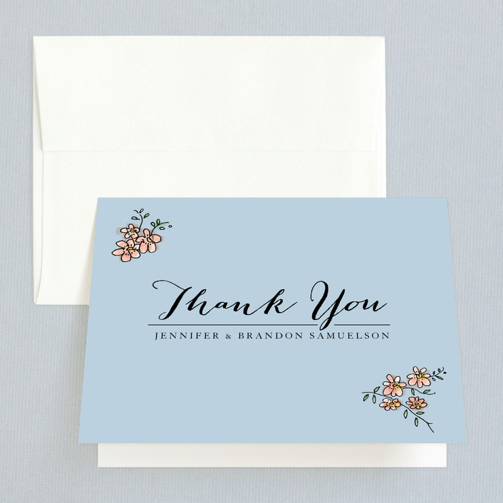 """The Wedding Sign Says"" - Rustic, Whimsical & Funny Thank You Cards in Sky Blue by Becky Nimoy."