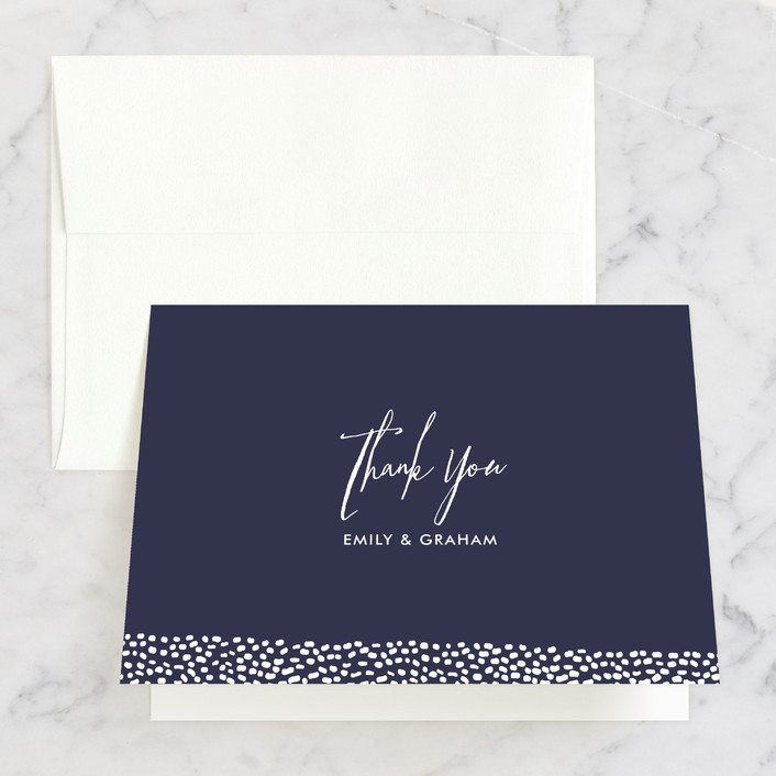 """""""Sprinkled Love"""" - Elegant, Modern Thank You Cards in Navy by Paper Dahlia."""