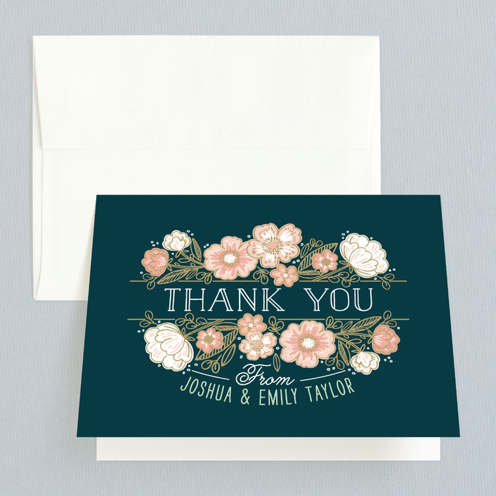 """""""Country Florals"""" - Thank You Cards in Navy by Alethea and Ruth."""