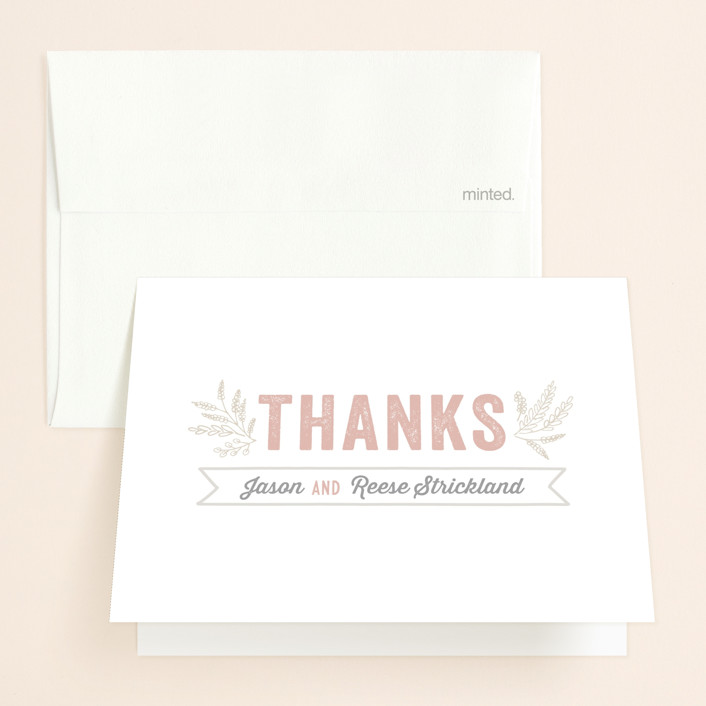 """""""Rustic Charm"""" - Bold typographic, Rustic Thank You Cards in Petal by Hooray Creative."""