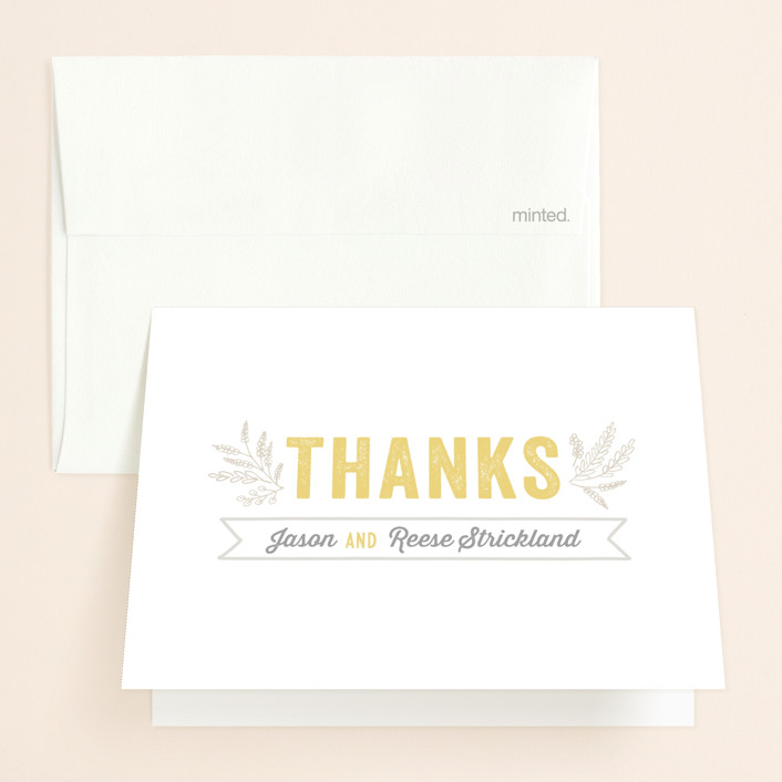 """Rustic Charm"" - Bold typographic, Rustic Thank You Cards in Petal by Hooray Creative."