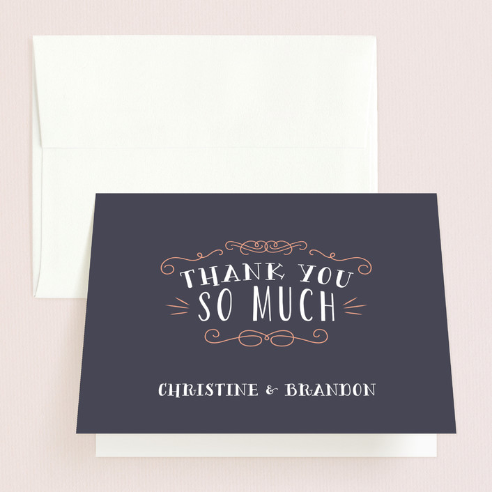 """""""Serendipity"""" - Rustic Thank You Cards in Midnight by Sarah Brown."""