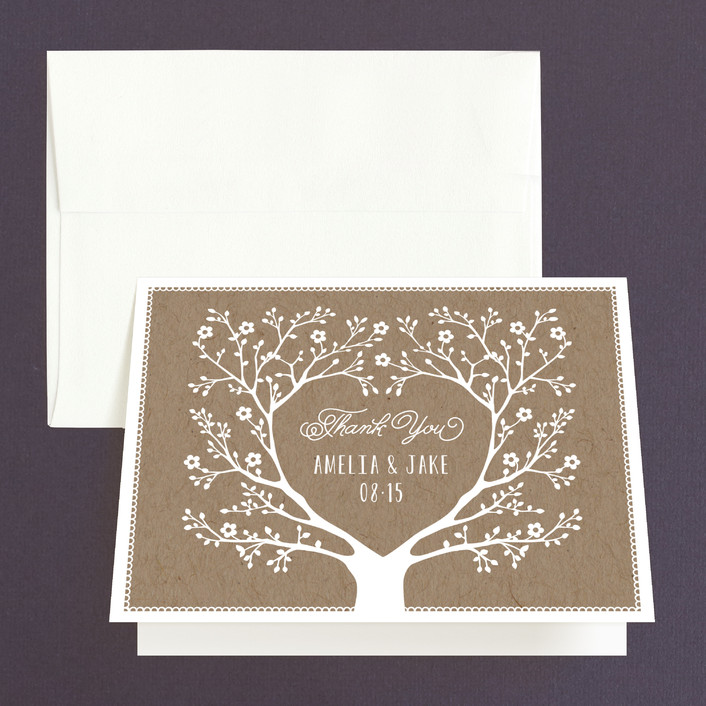 """Kraft Woodland Tree"" - Rustic Thank You Cards in Buckwheat by Coco and Ellie Design."