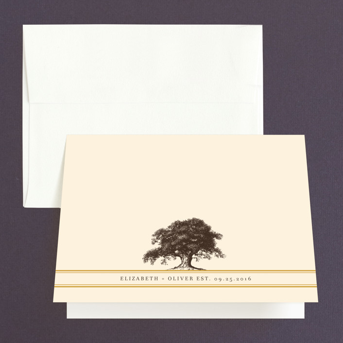 """Oak Tree"" - Rustic Thank You Cards in Butterscotch by annie clark."