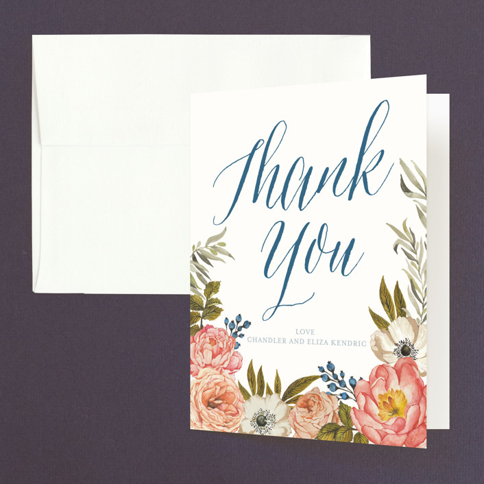 """""""Garden Rose"""" - Thank You Cards in Garden Rose by Wildfield Paper Co.."""