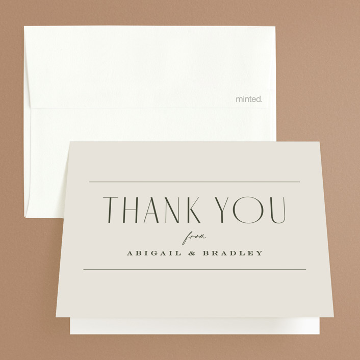 """""""Moderne"""" - Folded Thank You Card in Graphite by Everett Paper Goods."""