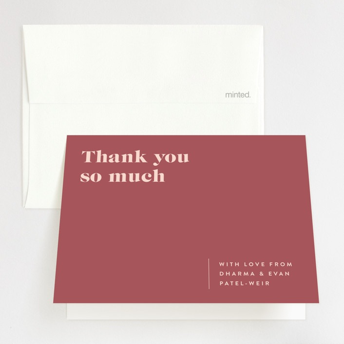 """""""headline"""" - Folded Thank You Card in Rust by Melissa Egan of Pistols."""