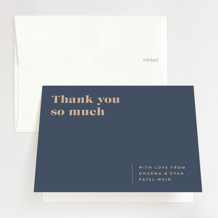 """headline"" - Folded Thank You Card in Rust by Melissa Egan of Pistols."