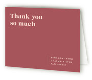This is a red wedding thank you card by Melissa Egan of Pistols called headline with standard printing on strathmore in standard.