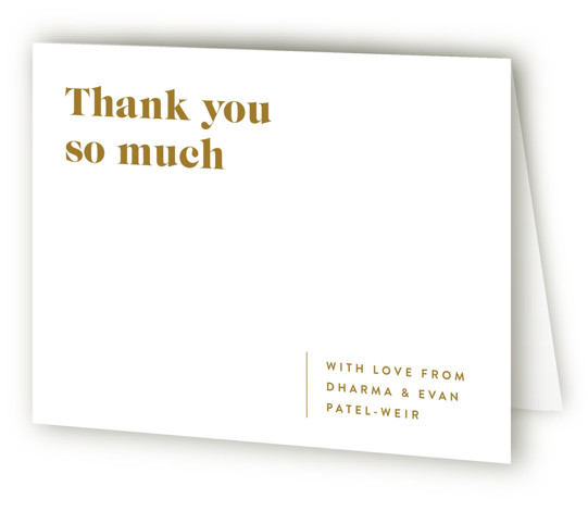 This is a landscape white, yellow Wedding Thank You Cards by Melissa Egan of Pistols called headline with Standard printing on Standard Cover in Card fold over (blank inside) format. A modern typographic, wedding invitation that lets your information and ...