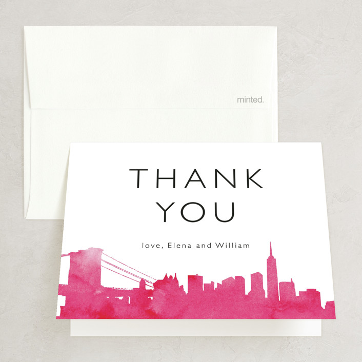 """""""Skyline -New York"""" - Modern Folded Thank You Card in Magenta by Laura Condouris."""