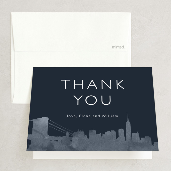 """""""Skyline -New York"""" - Modern Thank You Cards in Magenta by Laura Condouris."""