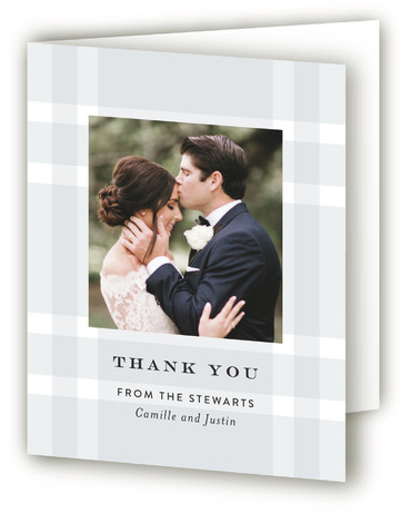 This is a bold and typographic, preppy, grey Wedding Thank You Cards by Jill Means called Wedding Plaid with Standard printing on Standard Cover in Card fold over (blank inside) format. A subtle plaid background with classic typography