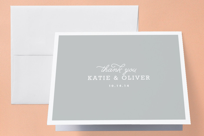"""""""Timeless"""" - Classical, Simple Thank You Cards in Heather Grey by Oscar & Emma."""