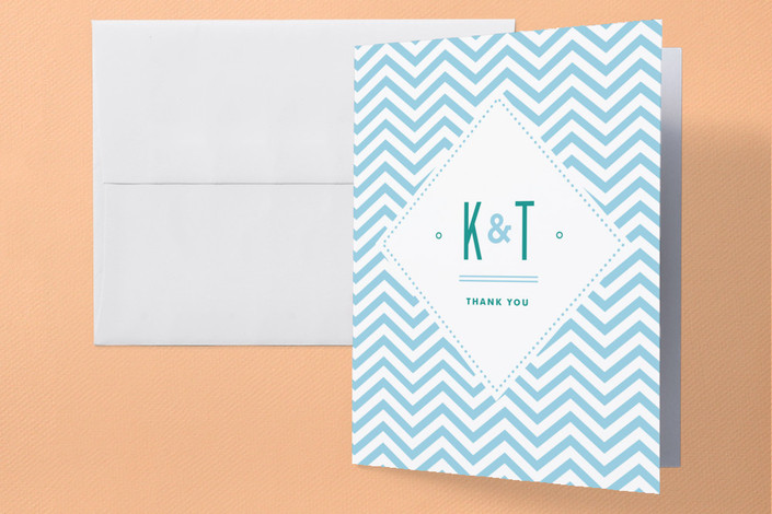 """Before & After"" - Modern, Beach Folded Thank You Card in Ocean Blue by Jennifer Wick."