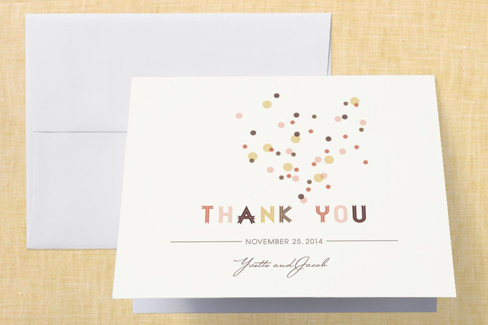 """Sweet Confetti"" - Whimsical & Funny, Simple Folded Thank You Card in Cotton Candy by fatfatin."