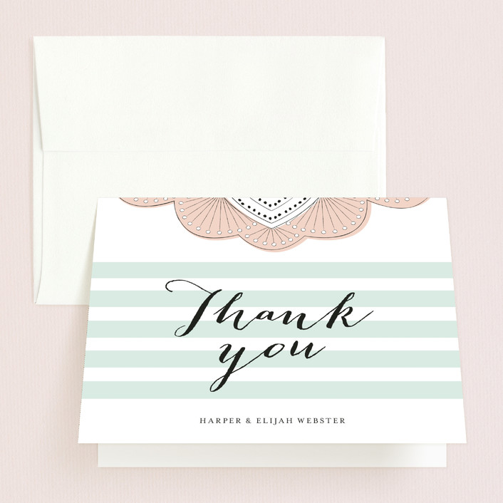 """Striped Sweet Nothings"" - Preppy Thank You Cards in Ocean Blue by Frooted Design."