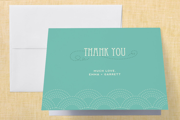 """""""Love Nouveau"""" - Whimsical & Funny, Simple Thank You Cards in Deep Ocean by Amanda Joy."""