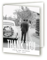 This is a white wedding thank you card by Jessie Steury called Monumental with standard printing on strathmore in standard.