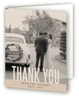 This is a brown wedding thank you card by Jessie Steury called Monumental with standard printing on strathmore in standard.