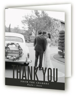 This is a black wedding thank you card by Jessie Steury called Monumental with standard printing on strathmore in standard.