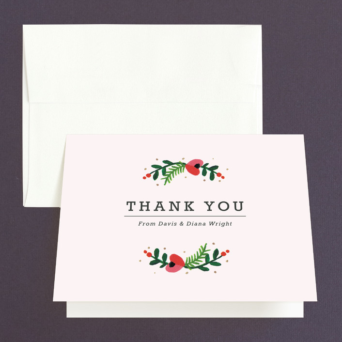 """""""Simple Flora"""" - Floral & Botanical Thank You Cards in Powder by Kristen Smith."""