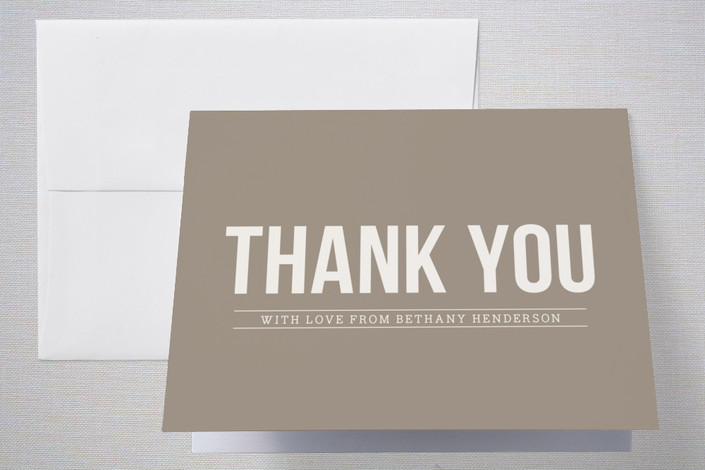 """Wooded Blooms"" - Thank You Cards in Tan by That Girl Press."