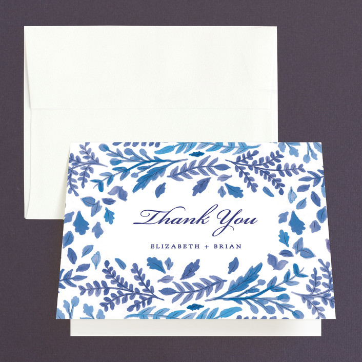 """""""China Plate"""" - Thank You Cards in Royal Blue by Ariel Rutland."""