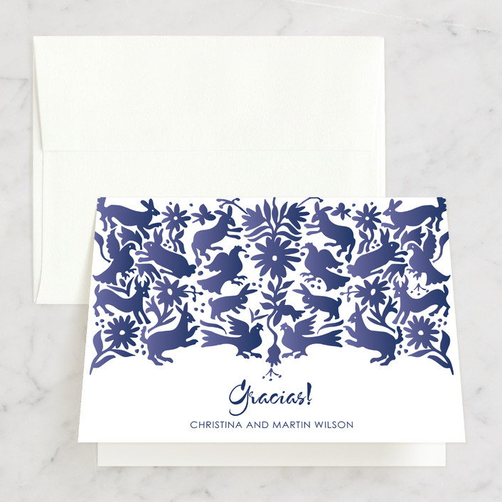 """Otomi"" - Thank You Cards in Denim by Paper Monkey Press."