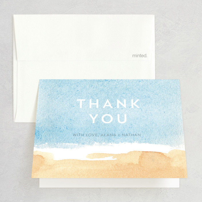 """""""Painted Sea"""" - Thank You Cards in Sea by Laura Condouris."""
