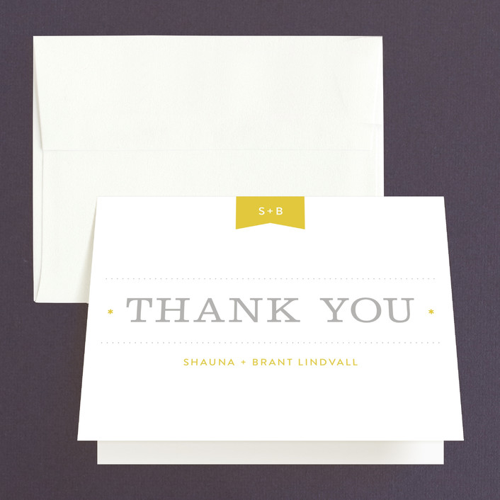 """""""Sunshine Day"""" - Modern Thank You Cards in Mustard by Michelle Taylor."""